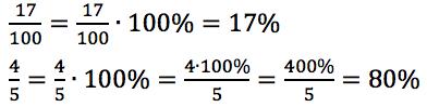 zmiana ułamka zwykłego na procent