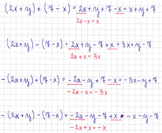 wyrażenia algebraiczne z dodawaniem i odejmowaniem w nawiasach