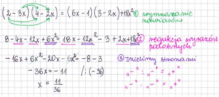 Rozwiązywanie równań i redukcja wyrażeń podobnych