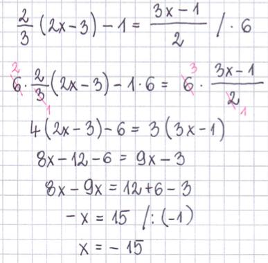 przykład rozwiązywania równań z jedną niewiadomą