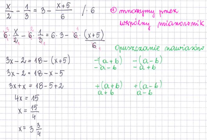 Mnożenie równań przez wspólny mianownik