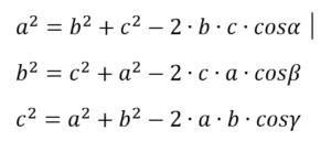 wzór na twierdzenie cosinusów
