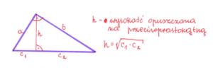 wysokość w trójkącie prostokątnym