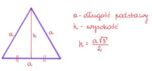wysokość w trójkącie równobocznym