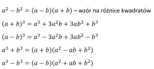 wzory na różnicę kwadratów